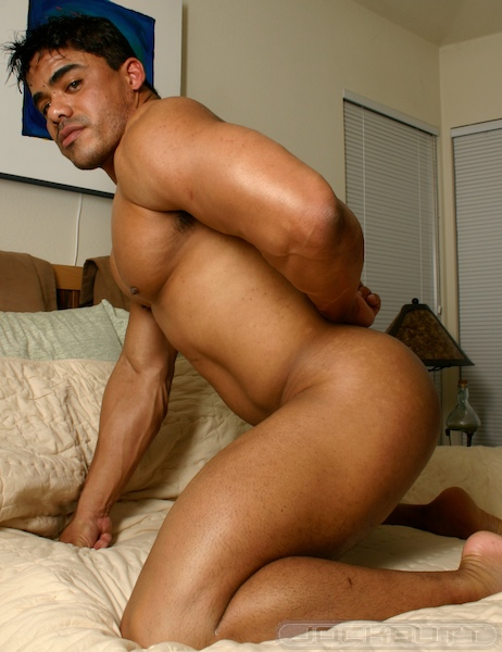 Gorgeous latin muscle shows his naked body in cam